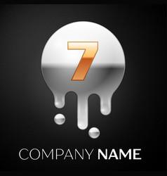 number seven splash logo golden dots vector image