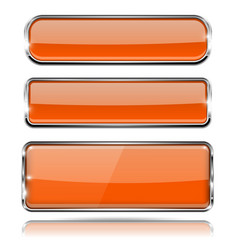 Orange glass 3d buttons with chrome frame vector