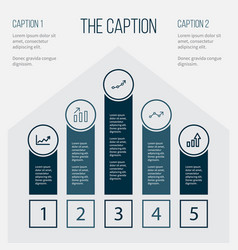 outline diagram set of infographic line graph vector image