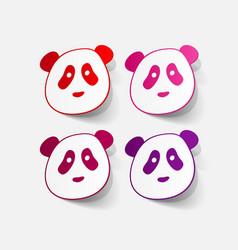 Paper sticker panda bear vector