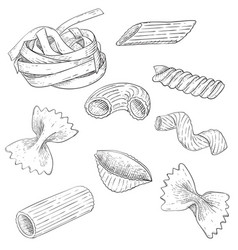 Pasta mix hand drawn sketch scattered single vector