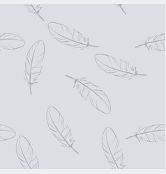 pastel seamless pattern with hand drawn feathers vector image
