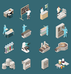 Pharmaceutical production isometric icon set vector