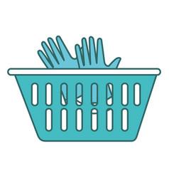 Plastic basket laundry icon vector