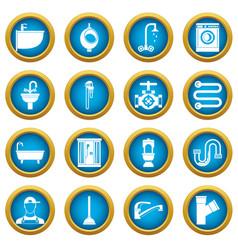 Plumbing icons blue circle set vector