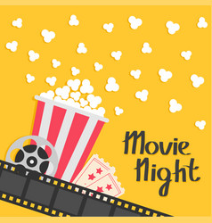 Popcorn popping big movie reel ticket admit one vector