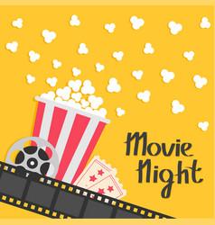 popcorn popping big movie reel ticket admit one vector image