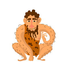 Prehistoric man with beard dressed in animal skin vector