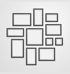 realistic detailed 3d black blank photo frames vector image