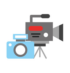 Recorder photo camera broadcast breaking news vector