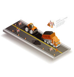 road works construction composition vector image