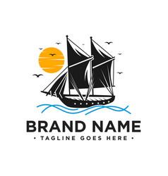 sailing boat logo design vector image