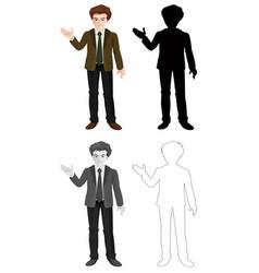 set business man character vector image