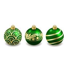 set christmas balls isolated on white green vector image