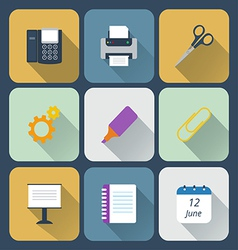 Set of business icons flat style vector image