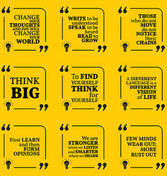 Set of motivational quotes about learning thinking vector image