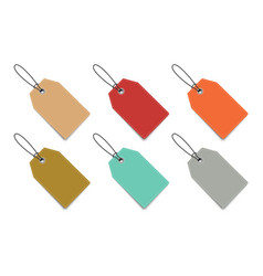 set of six christmas colorful paper tags for gifts vector image