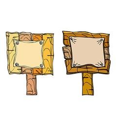 Set of wooden signposts vector