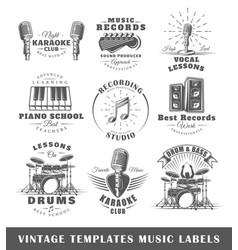 Set vintage musical labels templates vector