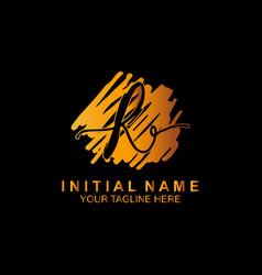 Signature letter r logo calligraphic lettering vector