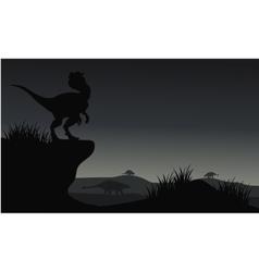 Silhouette of Ankylosaurus and dilophosaurus vector image