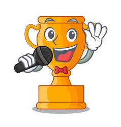 singing champion golden trophy on cartoon table vector image