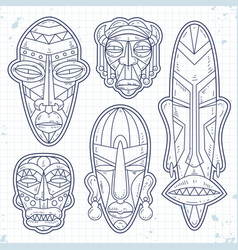sketch icons set of african ethnic tribal vector image