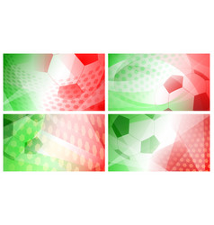 Soccer backgrounds in colors of italy or mexico vector