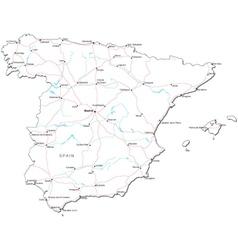 Spain Black White Map vector image