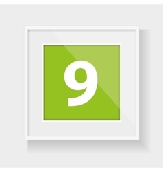 Square frame with number nine vector image