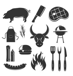 Steak house elements set vector