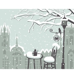 Street cafe in the winter vector
