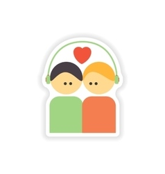 stylish paper sticker on white background couple vector image
