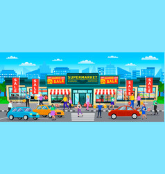 supermarket street city people shopping vector image