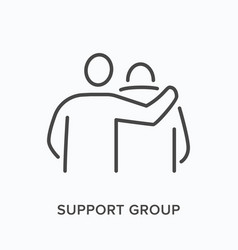 Support group flat line icon outline vector
