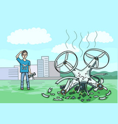 The drone fell from a height and broke into pieces vector