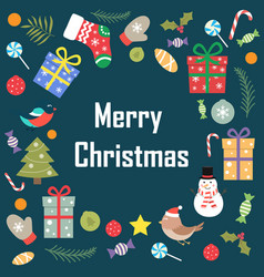 the phrase of merry christmas on a blue background vector image