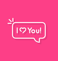 thin line i love you text speech bubble vector image