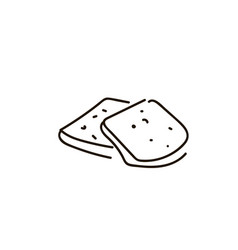 three pieces of white loaf on the white background vector image