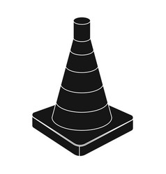 traffic cone icon in black style isolated on white vector image