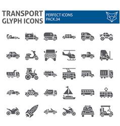 transport glyph icon set vehicle symbols vector image