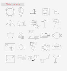 Travel set style line icons on white vector