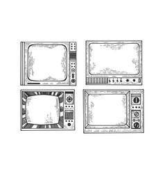 Tv set sketch engraving vector