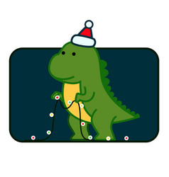 tyrannosaurus christmas cute card template vector image