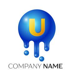U letter splash logo blue dots and bubbles letter vector