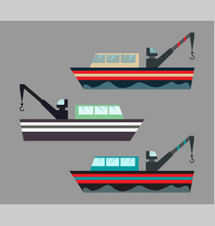Version icons fishing ships with hook ship at vector