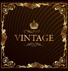 vintage gold frame decorative background vector image