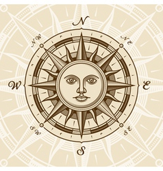 Vintage sun compass rose vector image