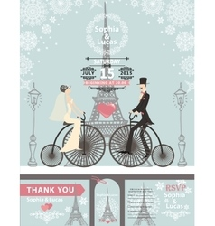 Wedding invitationsBridegroombikeParis Winter vector
