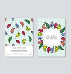 wedding vintage invitation card templates set vector image